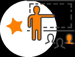 Grafik von vortragender Figur vor drei weiteren Figuren neben Stern aus Sternberg Concept Logo.